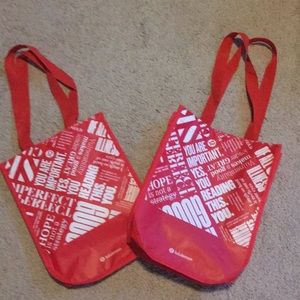 Set Of 2 Lululemon small red shopping tote bags